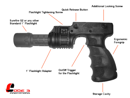 "Tactical Foregrip with 1"" Flashlight adapter and On/Off Trigger"