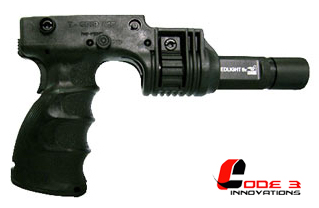 "T-GripR Tactical Foregrip with 1"" Flashlight adapter w/ rear Activation"